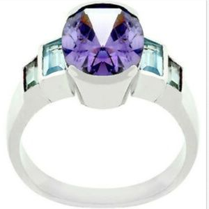 Silver Amethyst Art Deco Cocktail Ring Size 10